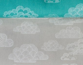"FISRT LIGHT fabric - Eloise Renouf - Nimbus  - Turquoise - or Grey - Cloud 9 Fabric - Organic Cotton - Half Metre (19.5"") - Clouds -  Poplin"