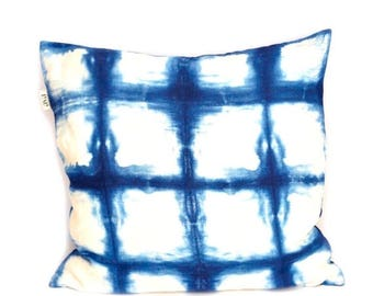ON SALE Indigo Blue Pillow Cover, Blue Linen Pillow, Shibori Linen Pillow, Pillow Covers 20X20, Hand Dyed Pillow Cover, New F/W Collection