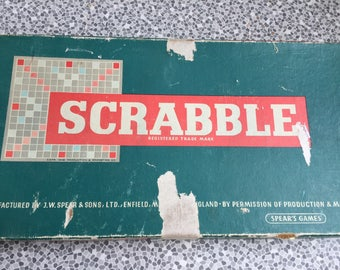 Vintage Scrabble game with wooden letters 1955