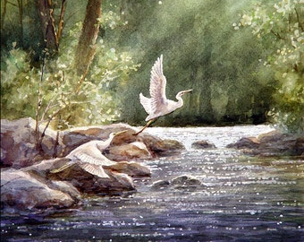 White Egrets Flying, Nature, River - Art Tile Print on Ceramic with Hook or with Feet Indoor Use -Nature, Birds