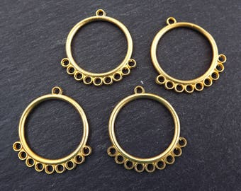 Round Looped Chandelier Earring Necklace Components with 9 Loops 22k Matte Gold Plated Brass - New And Improved - 4pc