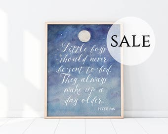 "SALE - Overstock Nursery Art Print - 11x14"" - Peter Pan Art - Little Boys Should Never Be Sent To bed - Twins - Brothers - Poster - Blue"