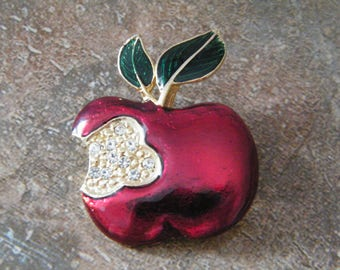 Enamel Apple Brooch for Teacher, Vintage Red Apple with Rhinestones First Bite Mark, Eve's Fruit, unmarked pin,
