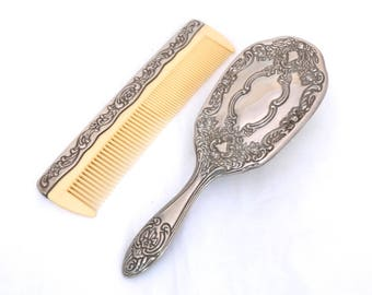 Vintage Vanity Set, Silver Plated Comb And Paddle Brush Set, Silver Brush Set, Ornate Comb And Brush, Vintage Hair Brush, Art Nouveau Comb