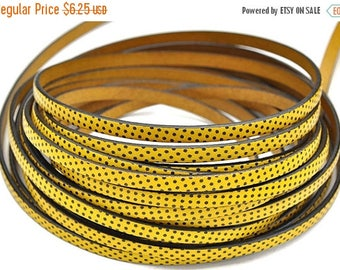 """ON SALE 5MM Flat Leather Cord Polka Dot Yellow - High Quality Leather Cord - Made in Eu - Qty. 1M/39.4"""""""