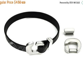 30% OFF 2pc - 10MM C-Clasp/Connector with Bracelet Loop - Antique Silver - High Quality Metal Casting