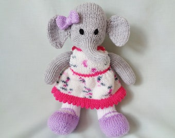 Elephant, Hand Knitted Elephant,  Handmade Elephant, Toy Elephant, baby gift, child gift, little girl gift, Nursery Decor