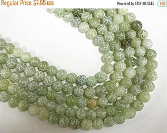 25% OFF 8mm Carved Jade Round Full strand Gemstone Beads seafoam Green, bead size is approx. - 48Beads-  SJA130
