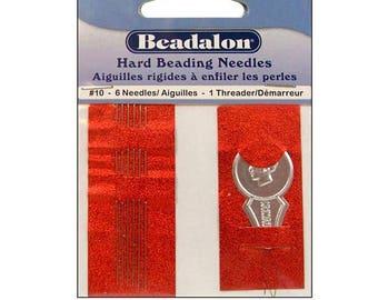 Beadalon #10 Hard Beading Needles with Threader, Beadalon Beading Needles, 6 Pcs + Threader, Strining needles - JNEEH10/6