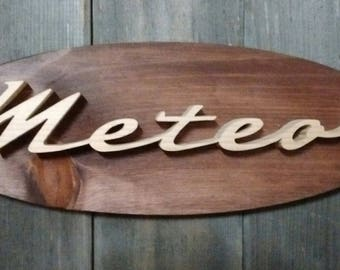 1957 Mercury Meteor Emblem Oval Wall Plaque-Unique scroll saw automotive art created from wood for your garage, shop or man cave.