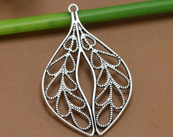 10 Leaf Charms, 48x31mm Antique Silver Tone Filigree Leaf Charms Pendants