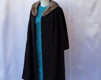 Fabulous 50% off Sale 1950's Chocolate Brown Coat Fabulous Mink Fur Collar Swing Coat Pea Coat Wedding Coat Holiday Coat by Pickfair Place