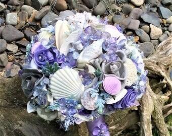 Beach Wedding Bridal Flower Bouquet-Brides Wedding Flowers-Wisteria-Lilac-Beach Flowers-Seashell wedding-Seashells and Flowers-Beach Bride