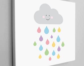 Happy Raincloud Canvas, Nursery Canvas Wrap, Kids Room Canvas, Cute Kids Canvas Art, Cute Cloud Art, Raindrop Kids Art, Kids Canvas, Room