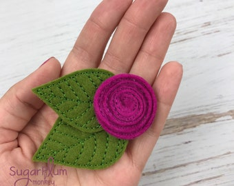 Wool Felt Rose Hair Clip, Hair Clip, Hair Accessory, Floral, Flower Bow