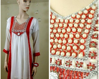 Beautiful tunic, top , dress, with rhinestones and beads