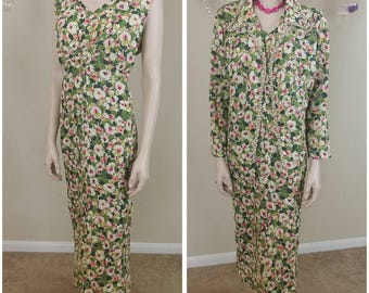 vintage handmade 60s floral suit 2 pieces with faux pearls