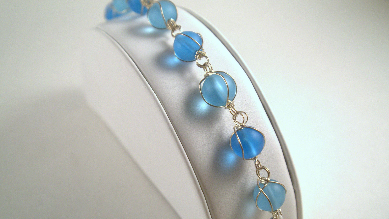 Aqua Blue Wire Wrapped Glass Bead Bracelet, Light Blue Gold Flexible ...