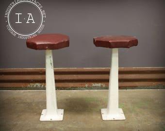 Pair Vintage Industrial White Cast Iron Soda Fountain Stools