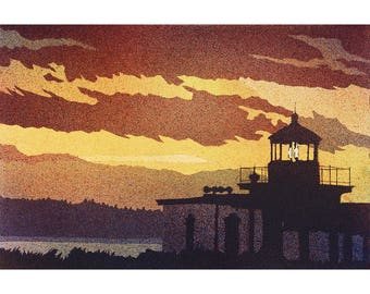 Watercolor painting of West Point Lighthouse (Discovery Park Lighthouse) in Discovery Park at sunset- Seattle, Washington.  Lighthouse art