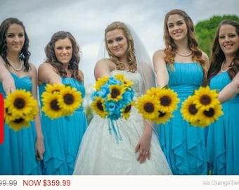 Sunflower & Malibu Blue 17 Piece Wedding Bouquet Flower Set, Bridal Bouquet Sunflower Wedding Bouquet Blue Bouquet Rustic Sunflower Bouq