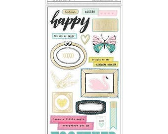 Maggie Holmes - Crate Paper - Chasing Dreams Collection - Foil Chipboard Stickers - 58 pieces - 375955