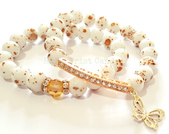 White Beaded Bracelet, OOAK,Rose Gold Bracelet,Splatter Bead, Butterfly Charm, Stretchy, Custom Handmade Beaded Jewelry