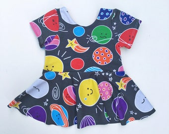 Solar System Peplum Top, Girls top, Baby Girls Top, Back to School Clothes, Toddler Peplum, Baby Peplum, Space Shirt, Solar System Party