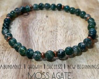 Moss Agate bracelet bracelet. Moss agate inspires abundance, growth, success, and new beginings.