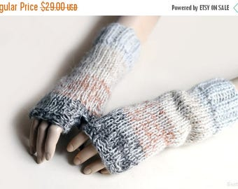 SALE Knit fingerless mittens Knit fingerless gloves Knit fingerless mitts Beige mittens Knit wrist warmers Chunky knit gloves Christmas gift