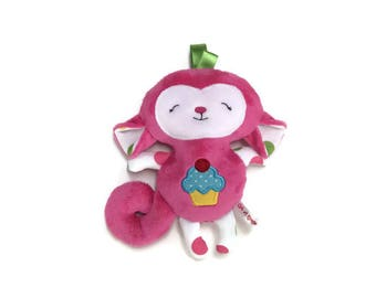 "Plush pink monkey, a size 8 ""applique cupcake on his belly, gift for baby shower gift"