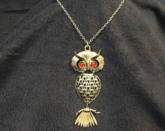 Vintage Retro Costume Jewelry Owl Necklace