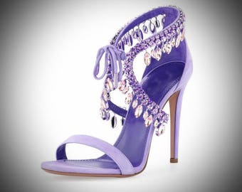 Princess Lyyi/Ultimate Luxury Gift Or Wedding Bridal Accessory/Gorgeous Hollywood Purple Crystal Heels/Shoes Open Toe/2017LuxuryCollection