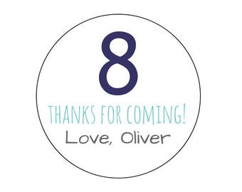 20 Number Thanks for Coming Stickers, Age Labels, Birthday Labels, Favor Stickers, Turning 8, Number Stickers, Personalized, Labels, Favors