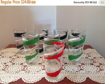 4th of July sale Eight Vintage Drinking Glasses Green Red Black and White Retro Drinking Glasses