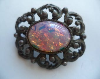 Vintage Unsigned Small Dark Silvertone Dragons Breath Brooch/Pin