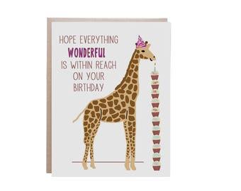 Giraffe Birthday Card, Card, Happy Birthday, Giraffe Card, Giraffe, Cupcake