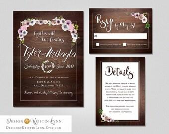 Rustic Wood Chic Wedding Invitations