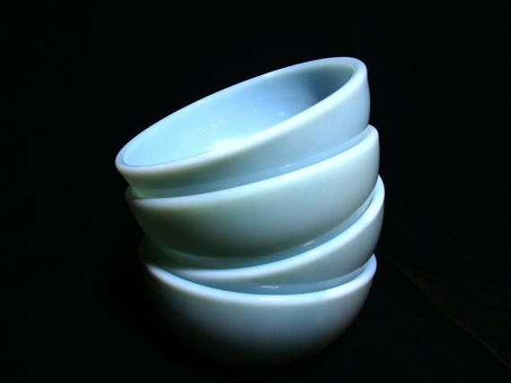 Fire King Soup Chili Bowls , Blue Turquoise, Set of 4  (2 Sets Avail) Excellent Condition,  Mid Century Dinnerware