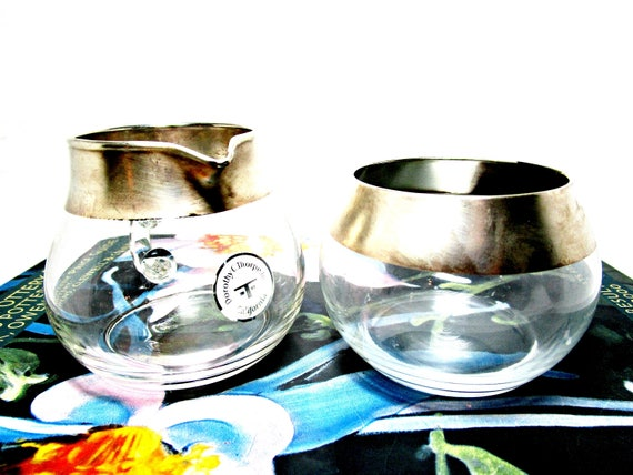 Authentic Dorothy Thorpe Creamer and Sugar Bowl, Original Tags, Mid Century Cream Pitcher, Sugar Bowl, Sterling Silver Rimmed Crystal