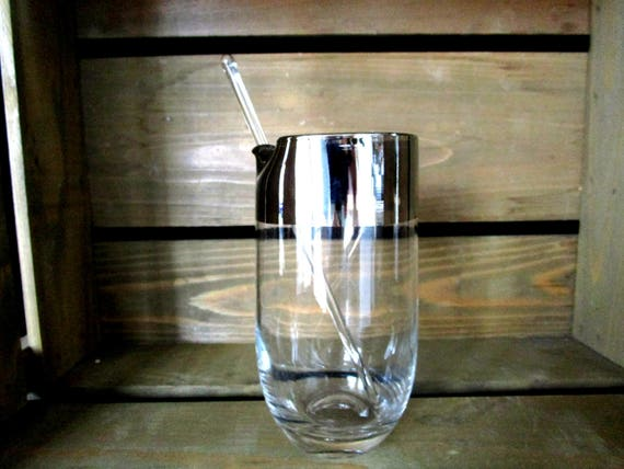 Vintage Martini Pitcher and Glass Stir Stick, Silver Rimmed Cocktail Pitcher, Wedding Housewarming Gift
