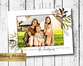 Photo Christmas Card, Watercolor flower Christmas Card,Greenery,rustic , Christmas Photo Card, Printable, Holiday photo card, boho, flower
