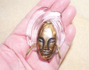 ELZAC Copper and Lucite Bonnet Head Tribal Face Brooch