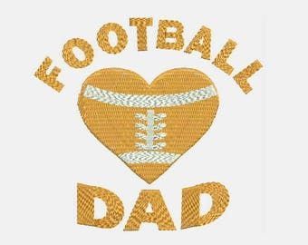 Football DaD Love heart Machine Embroidery Design - Instant Download Filled Stitches Design 307 B