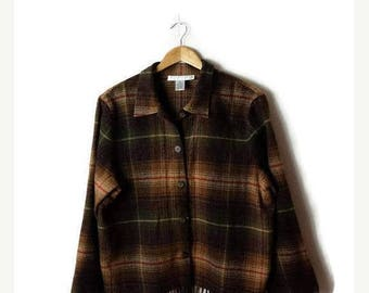 ON SALE Vintage Brown  Plaid Wool Blends Fringed Flannel Blouse from 90's*