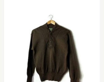 Clearance SALE 40% off Vintage Olive Green  Military Pullover Button Up Sweater/Boyfriend Sweater from 90's*