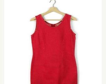 ON SALE Vintage Red Denim Sleeveless  Mini Dress from 1980's*