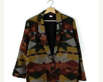 ON SALE Vintage Oversized Abstract Acrylic Slouchy Blazer  from 1980's*