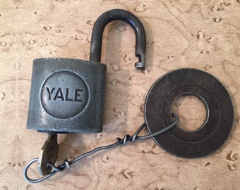 Vintage Yale & Towne Lock and Key with a Steel Washer Makeshift Fob. Made in USA.