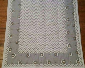 Soft and cozy owl and the moon stroller blanket